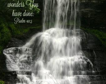 22. Waterfall; Photo Greeting Card; Nature art print; Cascade Falls, Virginia; Gift; Inspirational Scripture Psalm 40:5