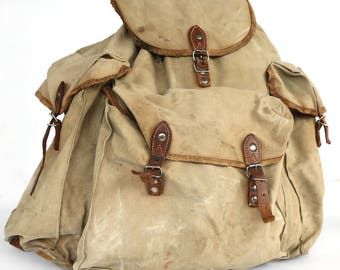 Vintage distressed canvas backpack, military Distressed washed out backpack, Big travel backpack, Army, Hiking backpack