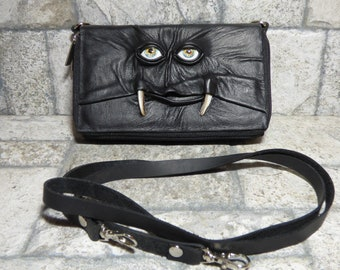Wallet Purse Cross Body With Face Small Monster Harry Potter Labyrinth Black Leather Detachable Strap Convertible 391