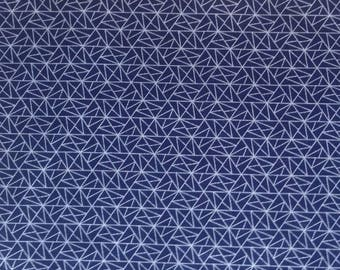 Cotton Japanese fabric - Sevenberry - small blue triangles - by 50 cm (110 x)
