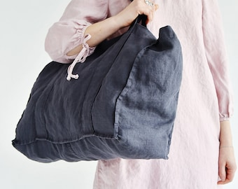 Linen Tote Bag - Natural Linen Tote Bag - Organic Bag - Linen Shopping Bag - Gray Linen Shoulder Bag - Linen Beach Bag - Large Tote Bag