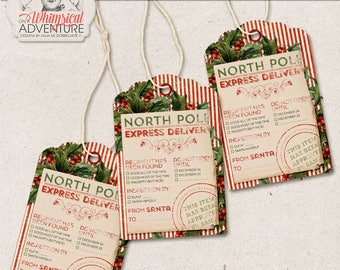 North Pole Printable Christmas Tags, Approved By, Santa Delivery, Digital Collage Sheet, Instant Download, Naughty Or Nice, Holly Berries
