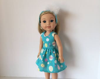 "14.5"" Doll Easter Dress with Easter Eggs. Fits Wellie Wishers Easter Dress. Accessories. 18"" Doll Clothes. Like American Girl."