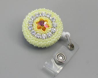 Beaded Badge Reel, Badge Holder with Swarovski Elements, Cup Chain, and Glass Seed Beads