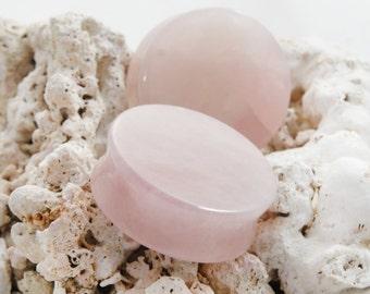 "Pair Rose Quartz Double Flared Pink Stone Plugs 8mm 0g 10mm (00g) 12mm (1/2"") 14mm (9/16"") 16mm (5/8"") 22mm ( 7/8"") 25mm (1"") 28mm 32mm 35mm"