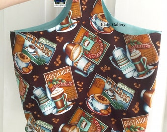 Market Bag Green Living Fabric Shopping Fabric Market Bag Reusable Washable Sustainable Lined Bag Coffee Theme Motif Shop Bag Fits in Purse
