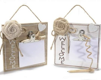Memo Holder Wooden Wall Blocknotes Welcome