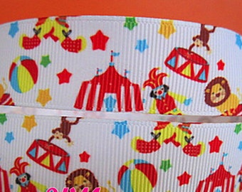 """Happy Circus Party Clowns Funny Variety Fun Printed Grosgrain Ribbon 1"""" Wide Scrapbooking HairBows"""