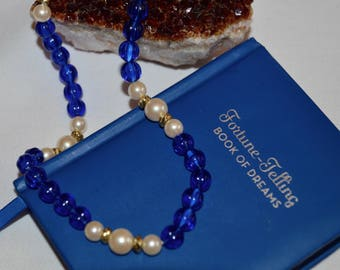 1990's vintage blue glass and faux pearl necklace
