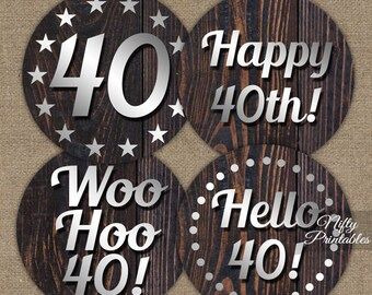 90th Birthday Cupcake Toppers Wood 90th Birthday Party