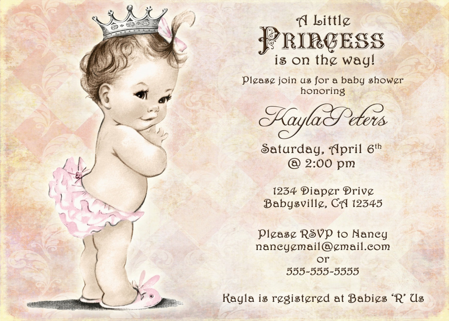 Vintage baby shower invitation for girl princess crown zoom filmwisefo