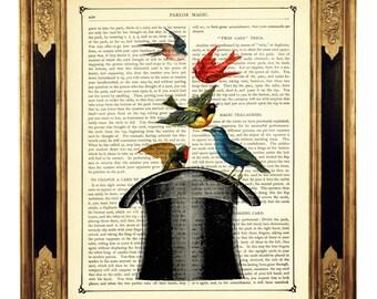 Birds Art Print Top Hat Magic Trick Poster Magician Wizzard - Vintage Victorian Book Page Art Print Dictionary Steampunk Magician Wizard