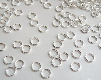 50 Jump Rings round shiny silver plated brass 6mm 20 gauge A4935FN