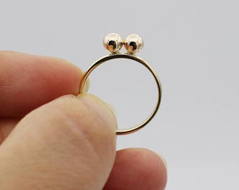 Statement Jewelry 14k Solid Gold Double Ball Ring
