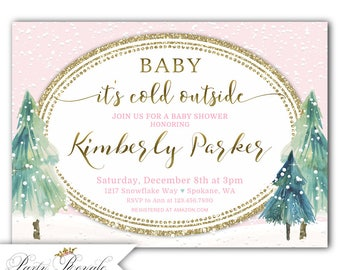 Baby it's Cold Outside Baby Shower Invitation Girl, Printed / Download, Winter Baby Shower Invite, Baby it's cold outside invitation