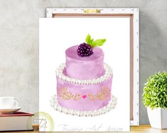 Cake Decor, Cake Wall Decor, Canvas Cake, Cake Illustrations, Purple Cake, Cake Art Decor, Double Cake, Cake Poster, Cake Print
