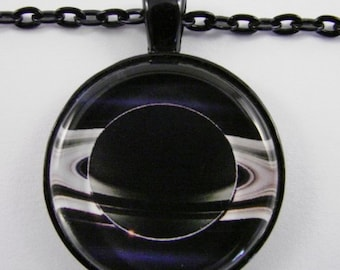 SATURN Necklace -- Planet Saturn and its Rings, Astronomy and Physics art, Jewel of the Solar System