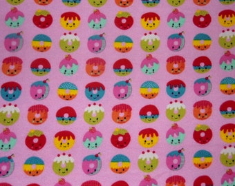 "Kawaii Fabric - Dougnuts - Pink Fabric - Girl  Fabric - Cotton Fabric - Flannel Fabric - Baby Fabric - Remnant - Harajuku - 25"" x 14"""