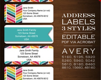 Chevron Address Labels - Address Sticker Envelope Seals  - rbc Bright Avery 5610 Labels Stickers Invitation Product Labels Ribbon Printable