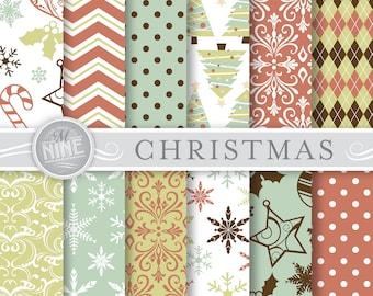 CHRISTMAS Digital Paper / Vintage Christmas Patterns / Christmas Prints, Instant Download, Holiday Patterns Printable Scrapbook Paper Pack
