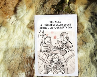 You need a higher stealth score to hide on your birthday. Geeky Greeting Card A5. Artprint by Sophie Grunnet