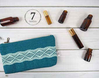 Essential Oil Case, Essential Oil Bag - ZOE in Deep Lake - teal linen and lace, doily cosmetic bag zipper pouch essential oil storage, oils