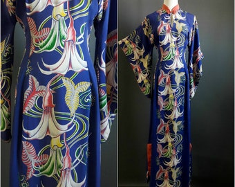 HOLD for JA 1940s rayon pake muu poison flowers, pake mu'u, cold rayon, 1940s hawaiian dress, angel's trumpet brugmansia print, hawaiian