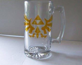 Legend of Zelda Tri force Eagle Hyrule Crest Stein Mug Large 26oz Nintendo, gift for him, video game