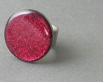 Resin Red Sparkle Ring in sterling silver