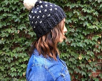 Fair Isle Knit Beanie // Pom Pom Beanie // Chunky Knit Winter Hat // THE DAWN