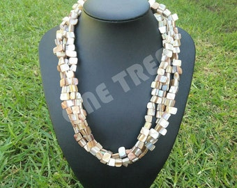 Three strand shell chip necklace