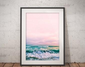 Beach Print, Coastal Photo Wall Art, Ocean Print, Coastal Beach Nautical Decor, pink turquoise blue, Beach House Decor, Water Photography