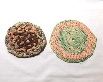 Two Vintage Dollhouse Miniature Rugs - Hand Crocheted and Hand Braided - Miniature Doll House Collector