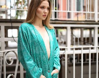 Vintage 80s Leopard Green Blazer Comfy