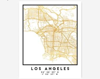 Downtown la map Etsy