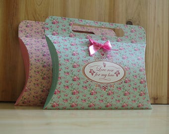 Pillow Box-Floral Pillow Gift Bags - Candy Box- Birthday Boxes -Party Boxes -Birthday Party -Gift Box -Favor Boxes -Wedding Favor