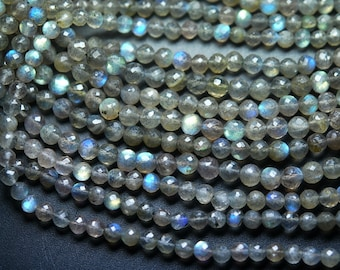 10x13 Inch Strand, Finest Quality,Blue Flashy Labradorite Faceted Round BALLS Beads,4mm