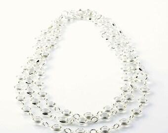 "Long Swarovski Channel Necklace in Sterling Silver, 48"""