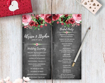 Peach And Cream Wedding Program Template Printable Wedding - Floral wedding program templates