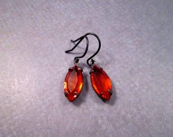 Rhinestone Earrings, Orange Glass Navettes, Gunmetal Silver Dangle Earrings, FREE Shipping U.S.