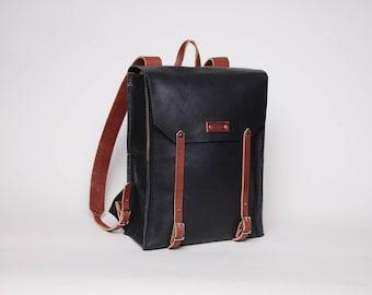 Leather Rucksack Backpack | Black