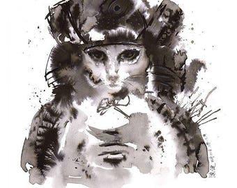 cat samurai : framed prints (size 12x17cms or 17x22cms)