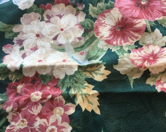 "Vintage Large Scale Floral Damask Fabric Sample // 25x25.5"" > decorator > iris, hydrangea, roses, bleeding hearts, pansies, peonies"