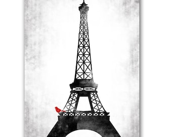 Eiffel Tower Fine Art Print - red bird sitting on the Eiffel Tower, wedding gift, symbol of love