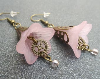 Steampunk mechanical Campanula light pink or white choice Flower Earrings