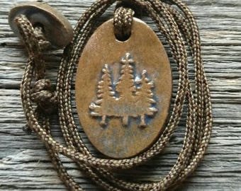 Trees Necklace - Pine Trees - Evergreens -Redwoods in Stormy Blue