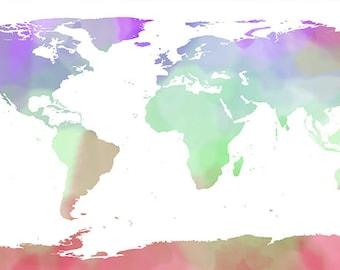 Printable watercolored world map-digital download-world map printable poster-wall art-home decor-gift for-office decor - world map wall art