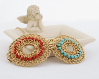FATE, Pendant, round, gold filled, corals, turquoise