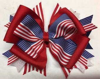USA Stacked Boutique Hair Bow Red White and Blue American Flag Toddler Homemade Patriotic Hair Bow 4th of July Hair Bow