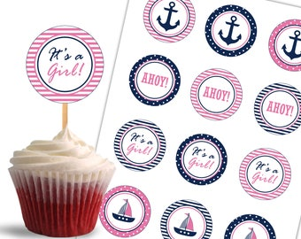 Nautical Cupcake Toppers, Birthday Printable Cupcake Toppers, Nautical Theme Party, It's a Girl  - Instant Download - DP444